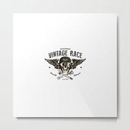 Skull With Militar Helmet Wings Metal Print