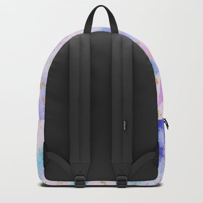 Lavender teal swirls gold Backpack