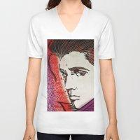 elvis presley V-neck T-shirts featuring Elvis Presley by Art By Ariel Cruz