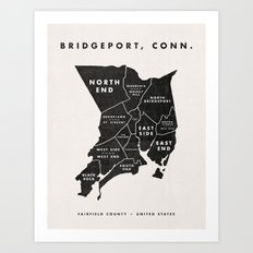 Bridgeport Map Art Print