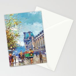 Along the Louvre, Paris, France by Antone Blanchard Stationery Cards