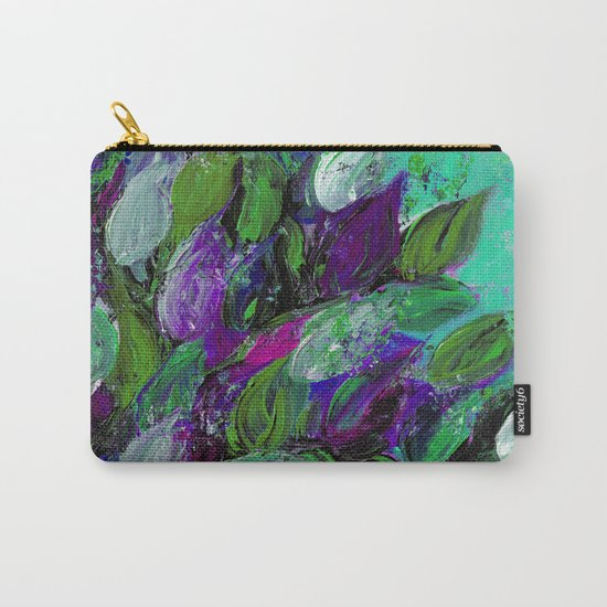 BLOOMING BEAUTIFUL 1 - Floral Painting Mint Green Seafoam Purple White Leaves Petals Summer Flowers Carry-All Pouch