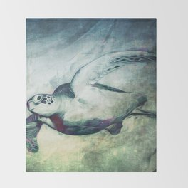 Flying Green Sea Turtle Throw Blanket
