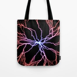 Electrical Lightning Discharge Blue to Red Tote Bag