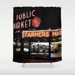 Pike Place Farmers Market - at night Shower Curtain