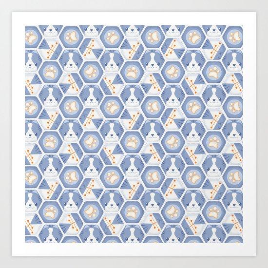 Hexy Cats_Blue Art Print