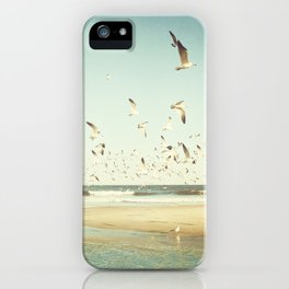Birds on Beach Photography, Seagulls Flying Coastal Photo, Teal Bird Ocean Picture, Turquoise Aqua iPhone Case