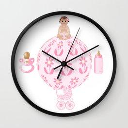 Baby Pink, Baby Girl, Pink Bottle, Bottle, Pink Pacifier, Pacifier, Pink Pram, Pram Wall Clock
