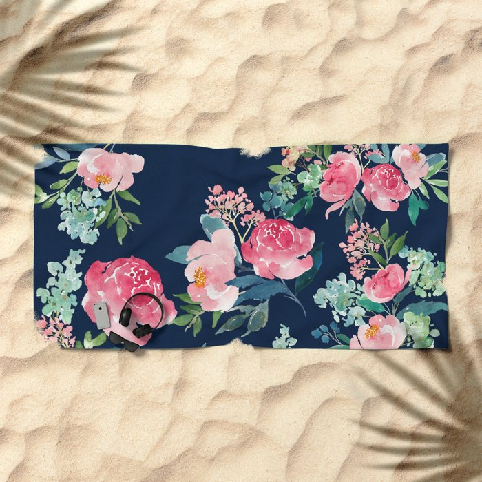Navy and Pink Watercolor Peony Beach Towel