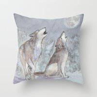 wolves Throw Pillows featuring Wolves by Jen Hallbrown