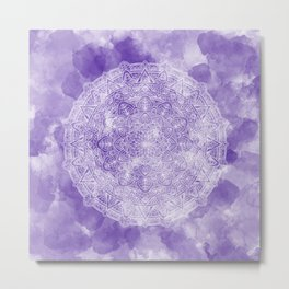 White Mandala on a Blue Watercolour Background Metal Print