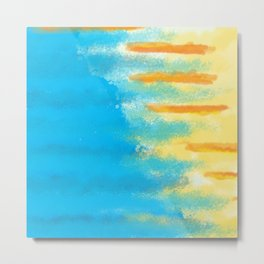 Bluish Blues 1 - Blues Yellows Greens and Oranges Abstract Beachy Bright Metal Print