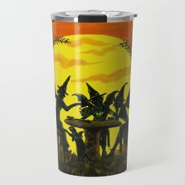 """Halloween witches floor mat """"Reading the tea leaves..."""" Travel Mug"""