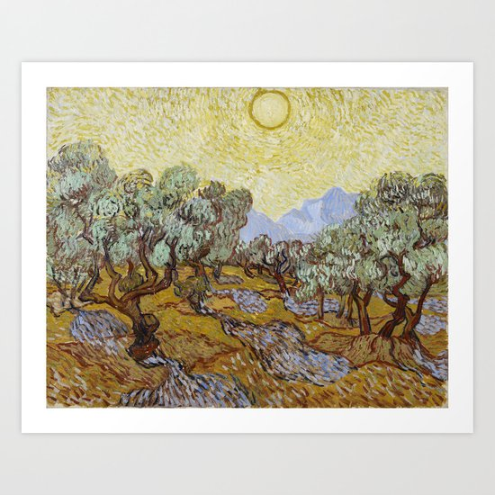 Vincent van Gogh - Olive Trees with Yellow Sky and Sun by constantchaos