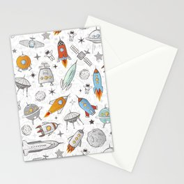 Space pattern on a white background with rockets, planets and astronauts. Stationery Cards