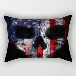 American Flag Punisher Skull Grunge Distress USA Rectangular Pillow