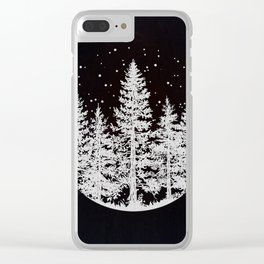 Trees in a Winter Forest Clear iPhone Case