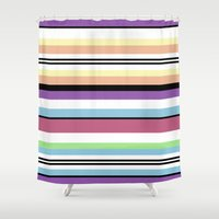 striped Shower Curtains featuring Striped by Katy Martin