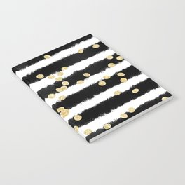 Modern black watercolor stripes chic gold confetti Notebook