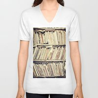 books V-neck T-shirts featuring books by PureVintageLove