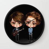 tegan and sara Wall Clocks featuring Tegan and Sara by Joana Pereira