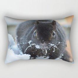 Black squirrel in snow Rectangular Pillow