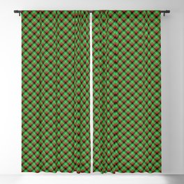 Christmas Holly Green, Red and Black and Argyle Tartan Plaid with Crossed White Lines Blackout Curtain