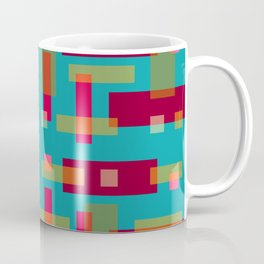 Red and Ocher Block City on Turquise Coffee Mug