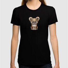 Cute Baby Lion Cub Wearing Glasses on Blue T-shirt