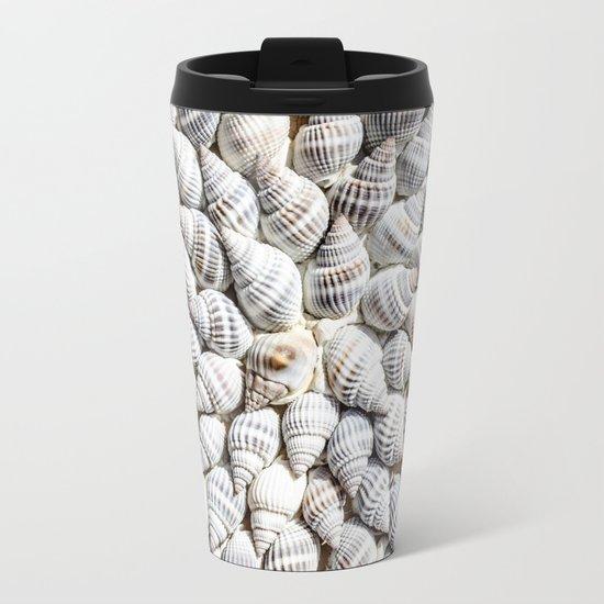 White Seashells Pattern Metal Travel Mug