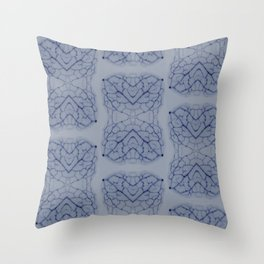 Arabidopsis thaliana (thale cress) leaf vein microscopy pattern blue Throw Pillow