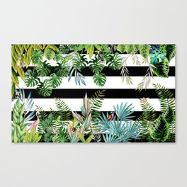 tropical background with animals on striped background Canvas Print