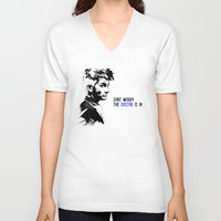 david tennant V-neck T-shirts featuring David Tennant Dr. Who - The Doctor is In by Noal's Corner