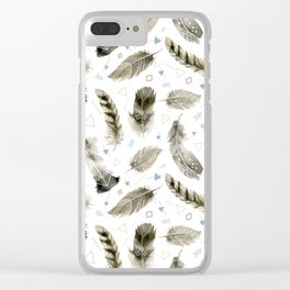 Boho shic style Feathers Clear iPhone Case
