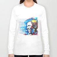 obama Long Sleeve T-shirts featuring Obama White by Phil Fung