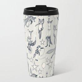 foxy circus indigo ivory Travel Mug