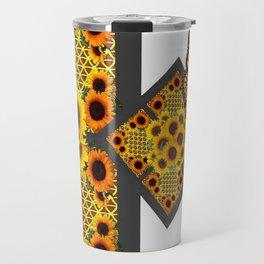 GOLD SUNFLOWERS & MONARCH BUTTERFLIES ART DECO Travel Mug