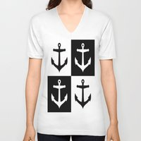 anchors V-neck T-shirts featuring Anchors Aweigh by floridagurl