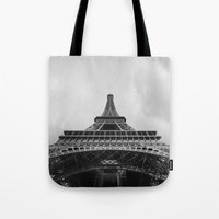 eiffel tower Tote Bags featuring Eiffel Tower by Evan Morris Cohen