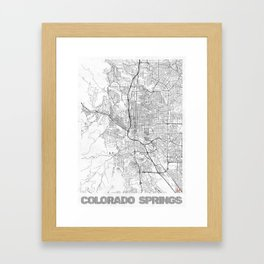 Colorado Springs Map Line Framed Art Print