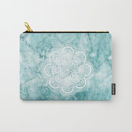 Mandala on teal marble. Carry-All Pouch