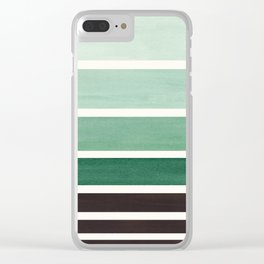 Deep Green Minimalist Watercolor Mid Century Staggered Stripes Rothko Color Block Geometric Art Clear iPhone Case