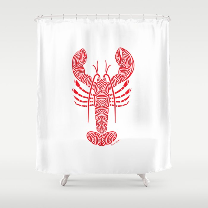 Tribal Maine Lobster On White Shower Curtain