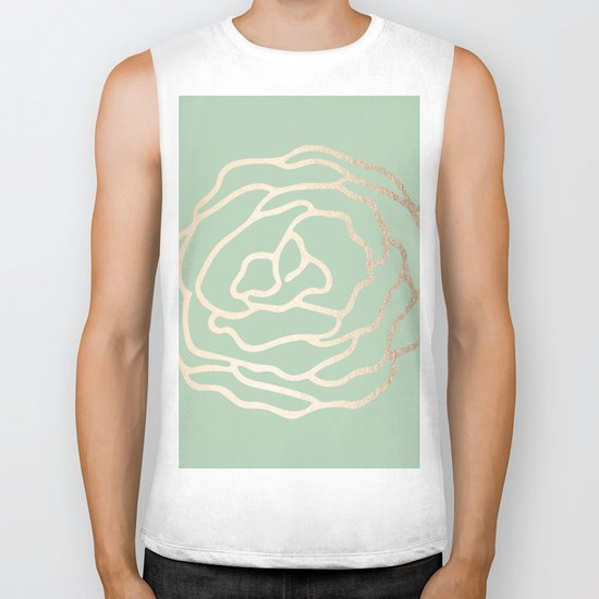 Rose White Gold Sands on Pastel Cactus Green Biker Tank