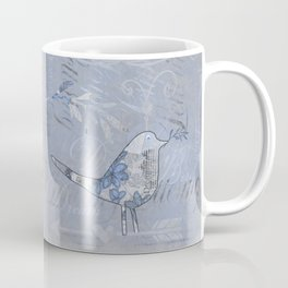 Blue Patchwork Bird Collage with Typography Coffee Mug