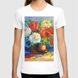 Bouquet of red and white roses T-shirt