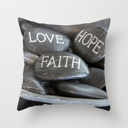 Love Faith Hope Christian Quote Black Pebble Embossing Throw Pillow