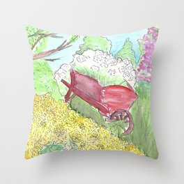 Watercolor painting, Red wheelbarrow, flowers, spring, country, farmhouse Throw Pillow