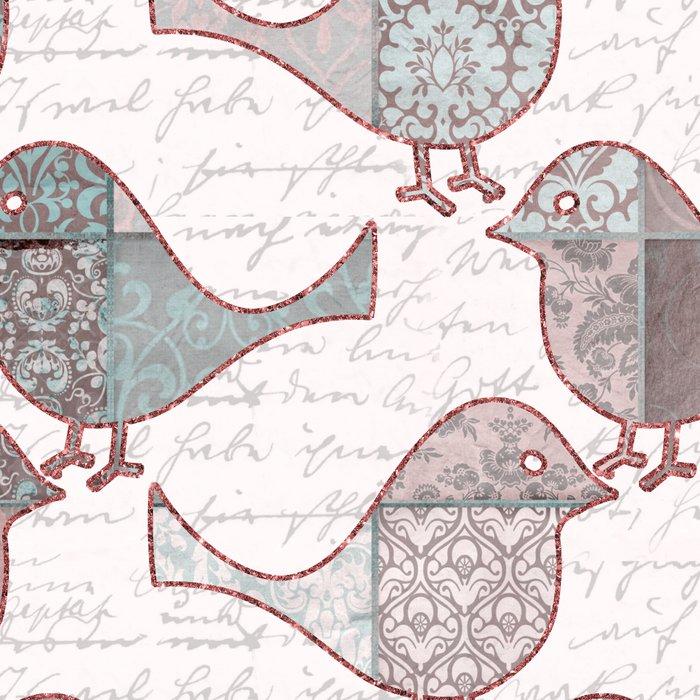 Vintage  Patchwork Birds Handwriting pastel pattern Leggings