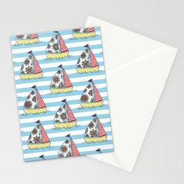 Sunny sailboats Stationery Cards